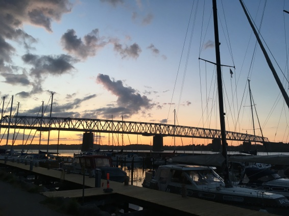 Evening view over the old Lillebaelt Bridge at Middelfart