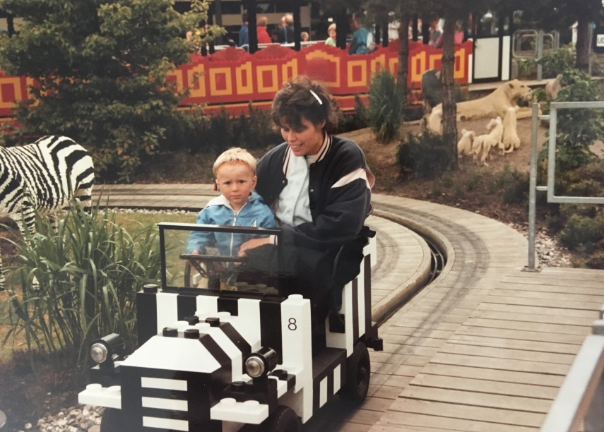 My youngest and I at the Legoland safari cars in 1988