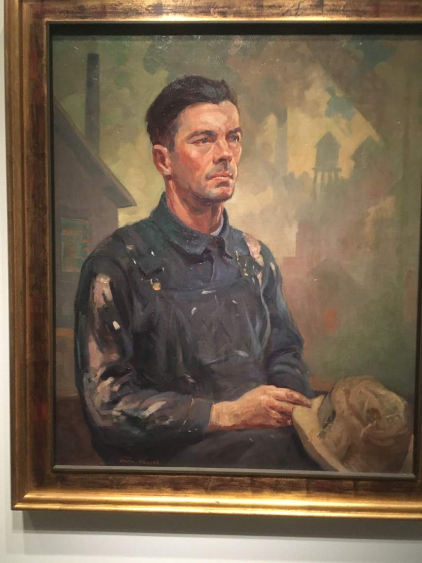 From the description on the painting: A WorkmanAn unemployed steelworker, World War I veteran, Arkansas;exposes the hardship of unemployment during the Great Depression