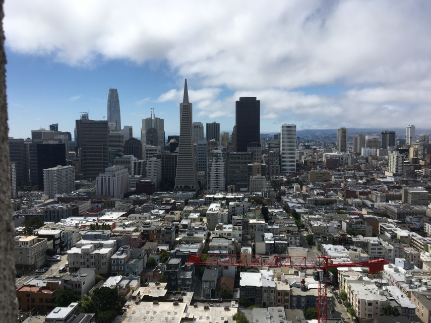 The skyline of SF seen from the Coit Tower