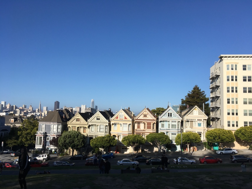 """The Pink Ladies"" a row of Victorian houses is a tourist attraction at Alomo Park  in SF"