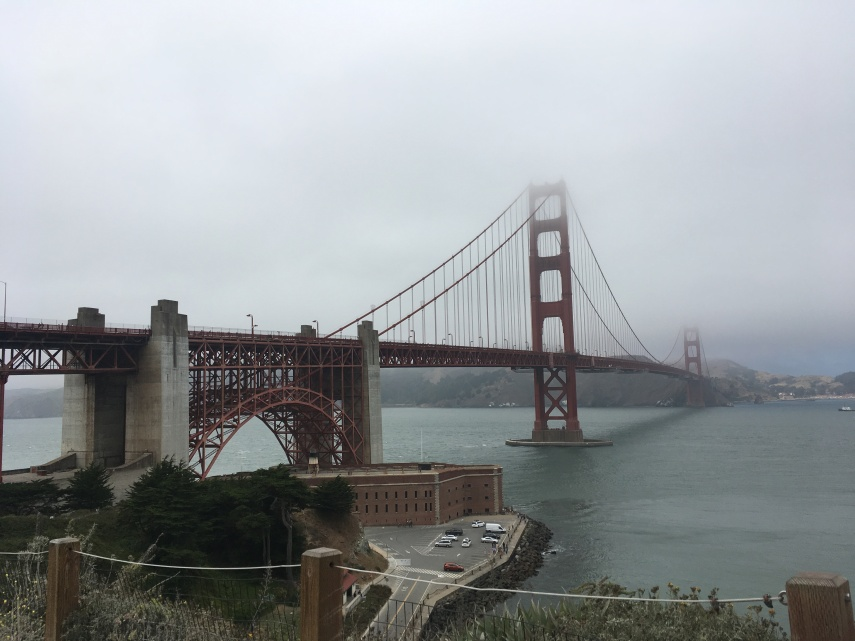 The Golden Gate Bridge in San Francisco in the fog also called Karl the Fog