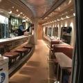 Inside the luxurious dining car at an Amtraktrain