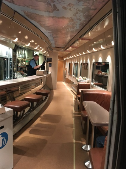 Inside the luxurious dining car at an Amtrak train