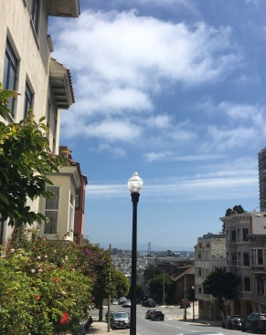 Union Street at Russian Hill. View over Bay Bridge
