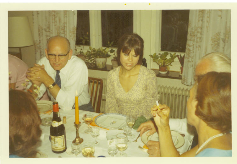 My father's birthday in 1970 a few days before, I left for an extended stay in England