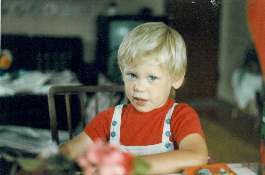 My oldest son at a birthday celebration for his younger brother in 1983