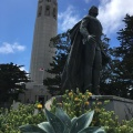 A statue of Christopher Columbus at the feet of the CoitTower
