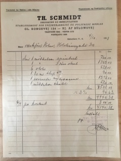 The original receipt for the furniture 1948