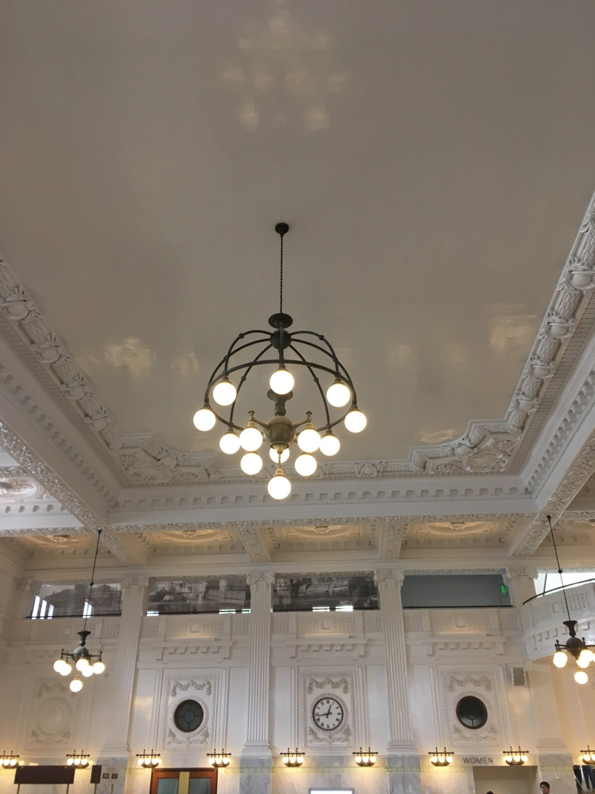 The ceiling and plaster walls and lamp in the renovated King Street Station