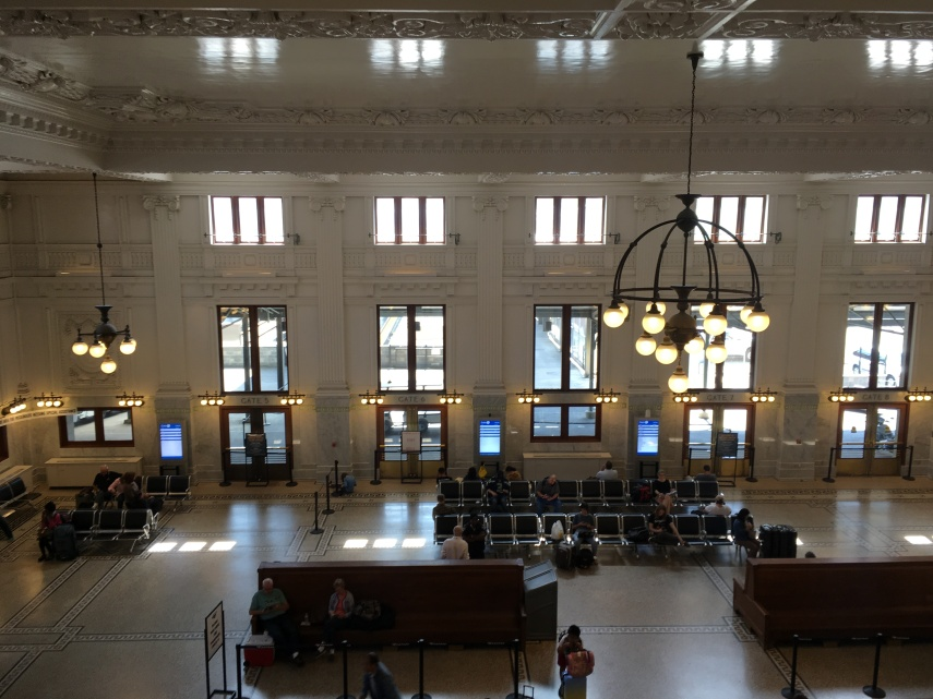 A view from the upper floor on the waiting area of Kings Street Station, Seattle.