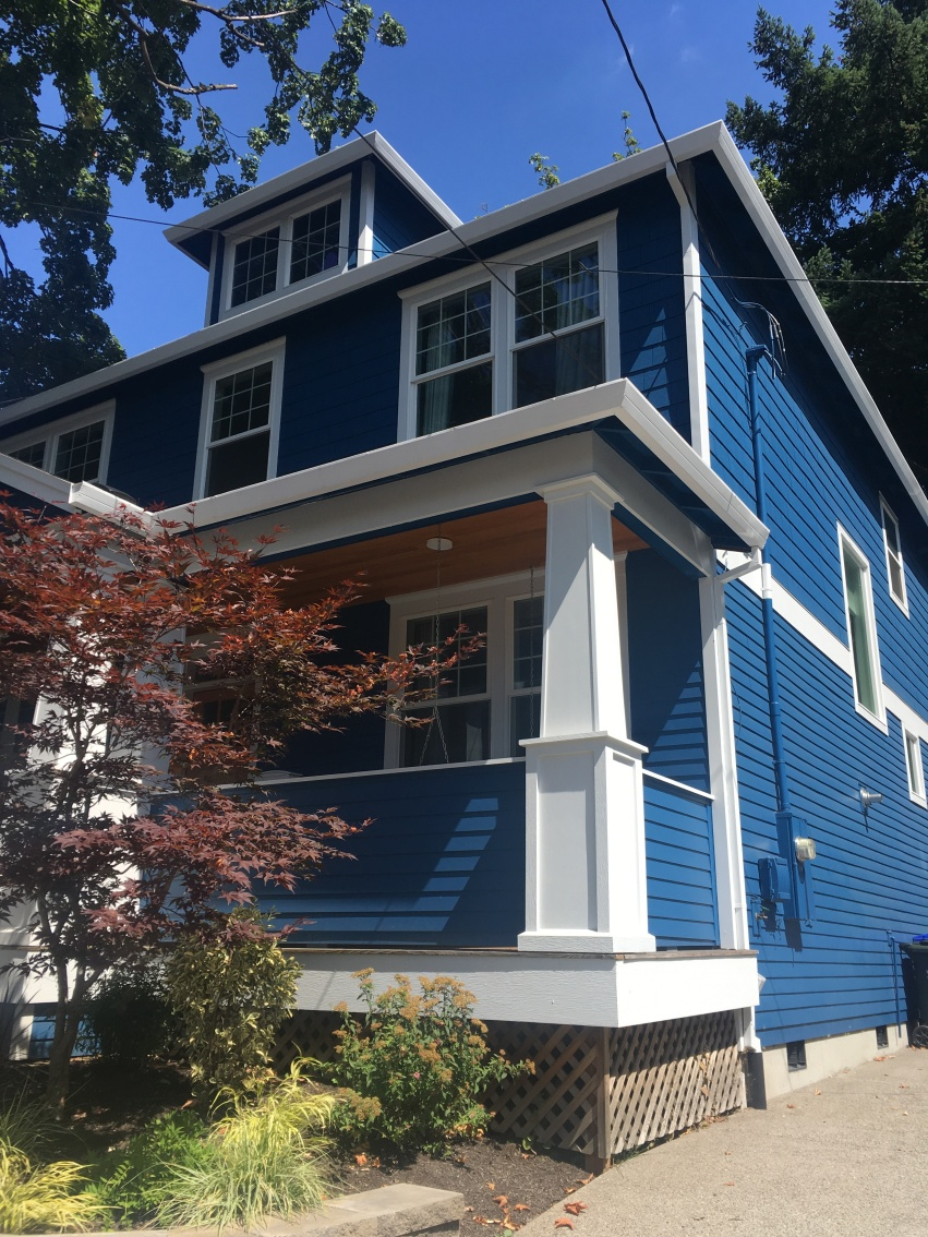 A blue wooden house in Portland