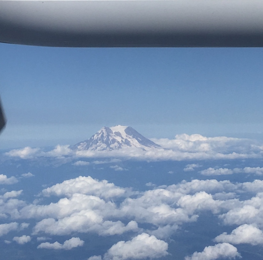 The sight of Mount Rainier south east of Seattle