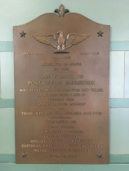 A war memorial in the Rincon Annex for post office employed who served in the two World Wars and the Korean War