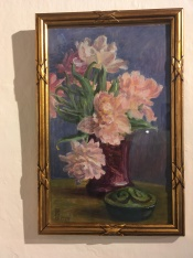 "Susette Cathrine Holten, nee Skovgaard (1863-1937) ""Peonies in a lilac vase."""
