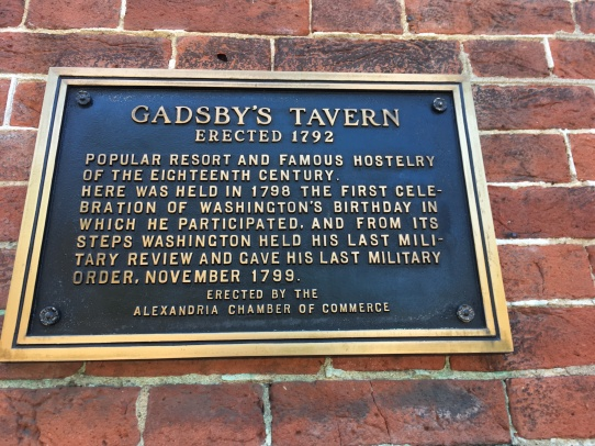 An information plaque on the Gadsby's Tavern building, Alexandria VA. Erected 1772