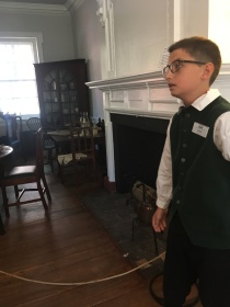 A young guide telling us about its history. Gatsby's Tavern, Alexandria Virginia