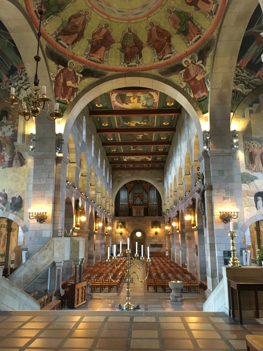 A view into Viborg Cathedral with Joakim Skovgaard frescos and paintings