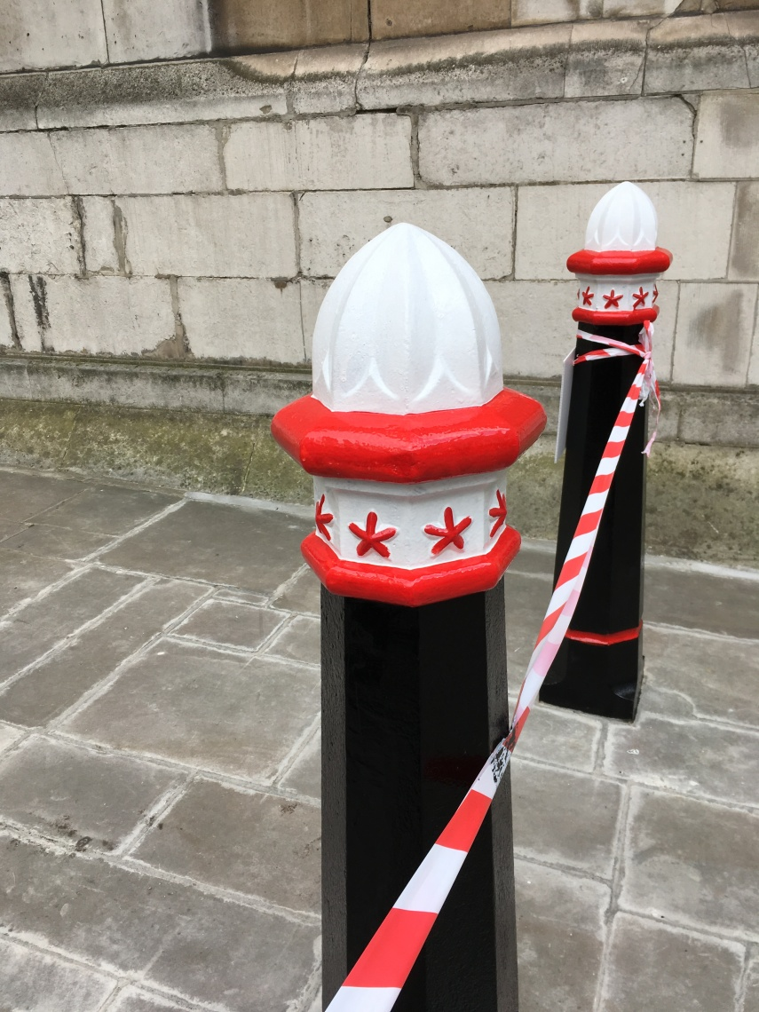 Newly painted City of London border posts