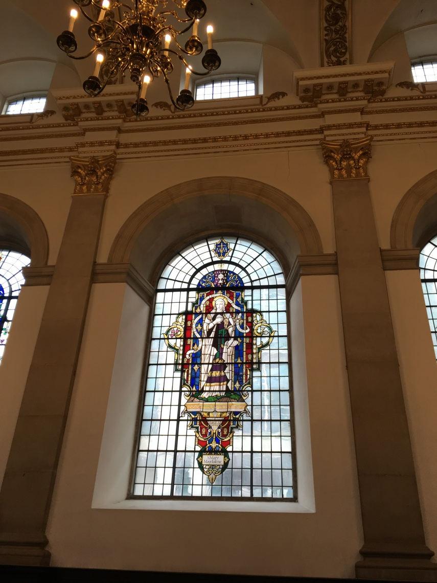 A stain glass window at St Lawrence Jewry Church at the Guildhall Yard