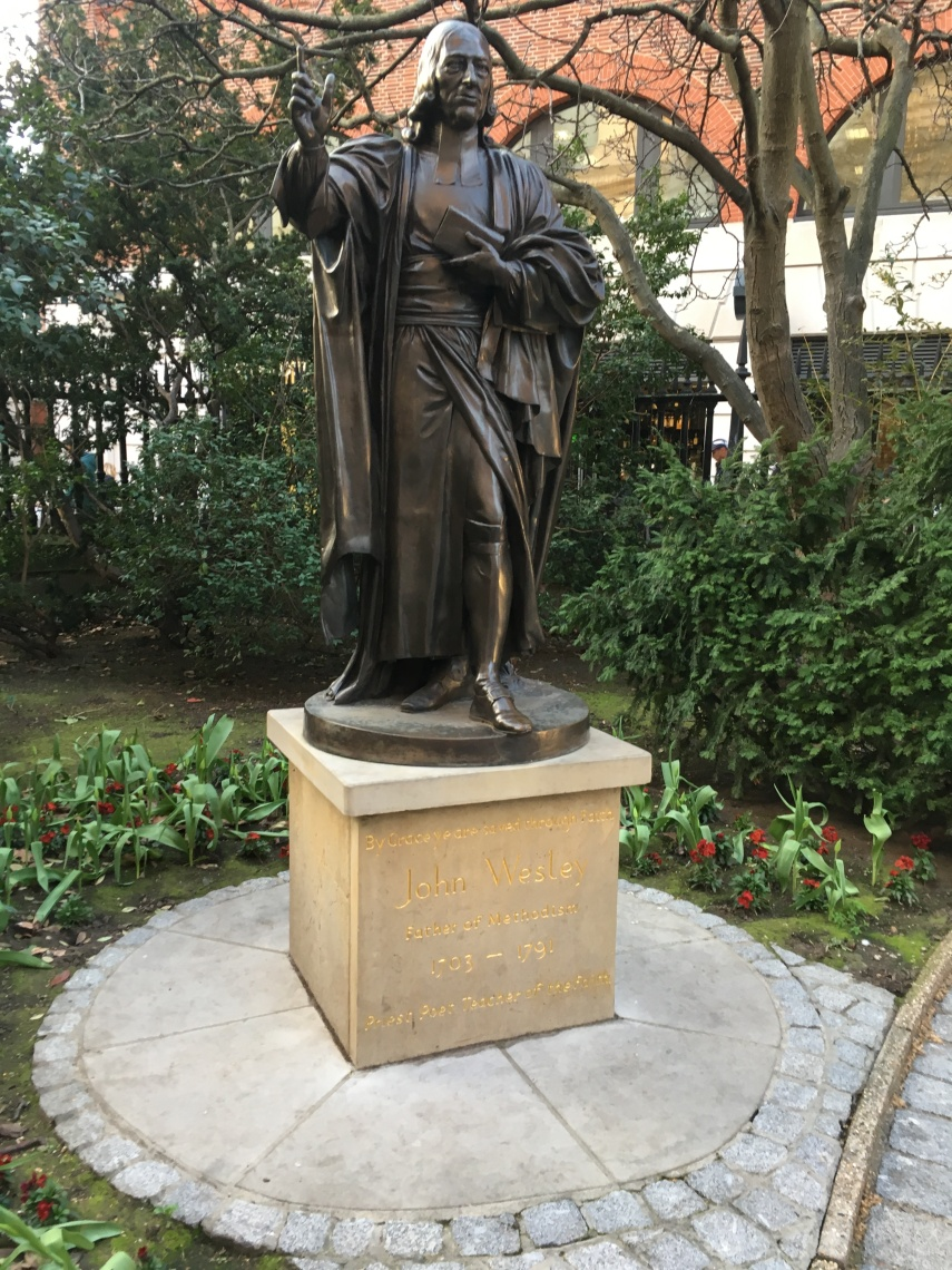Statue of John Wesley in the churchyard of St. Paul's Cathedral