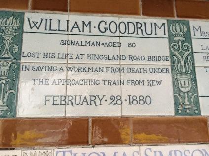 Memorial tile at Postman's Park