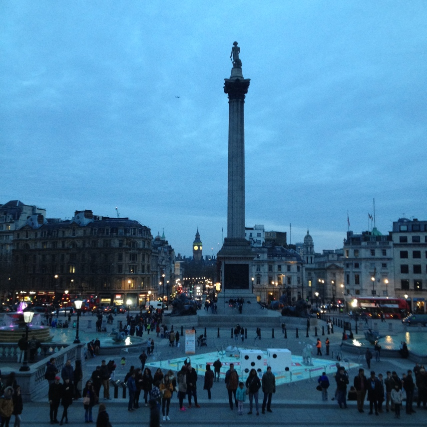 Trafalgar Square viewed from the steps of the National Gallery