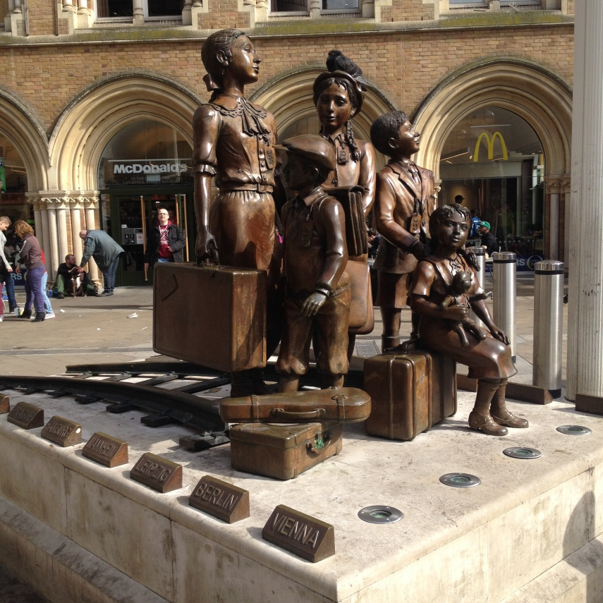 The bronze group statue of Jewish children arriving at the Liverpool Street Station by Frank Meisler (1925-2018)
