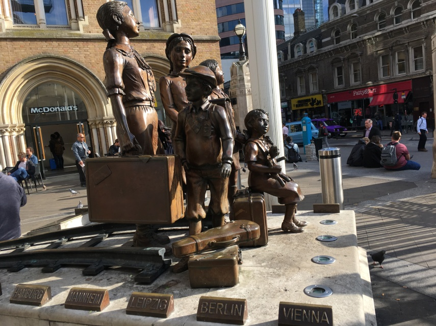 A memorial group of Jewish children arrive at the Liverpool Street Station