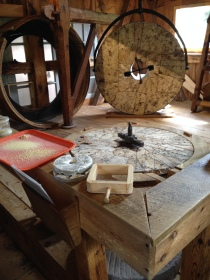 inside the grist mill in Plymouth