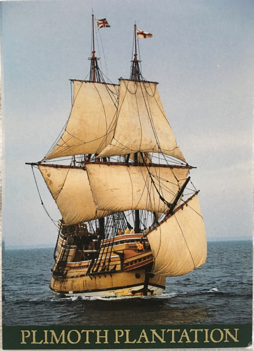 A postcard with a replica of Mayflower