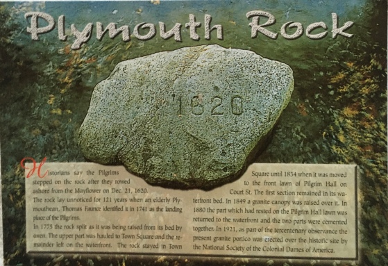 A postcard with information on the Plymouth Rock. The pilgrims from Mayflower used it as a stepping stone for landing.