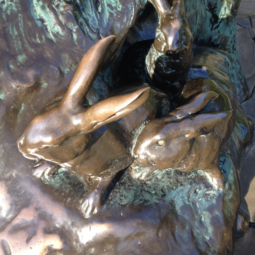 Detail of Kensington Garden's bronze statue of Peter Pan