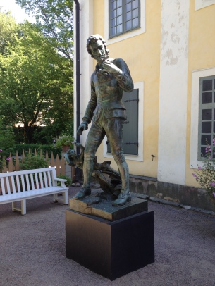 A statue of Carl von Linné in his home in central Uppsala