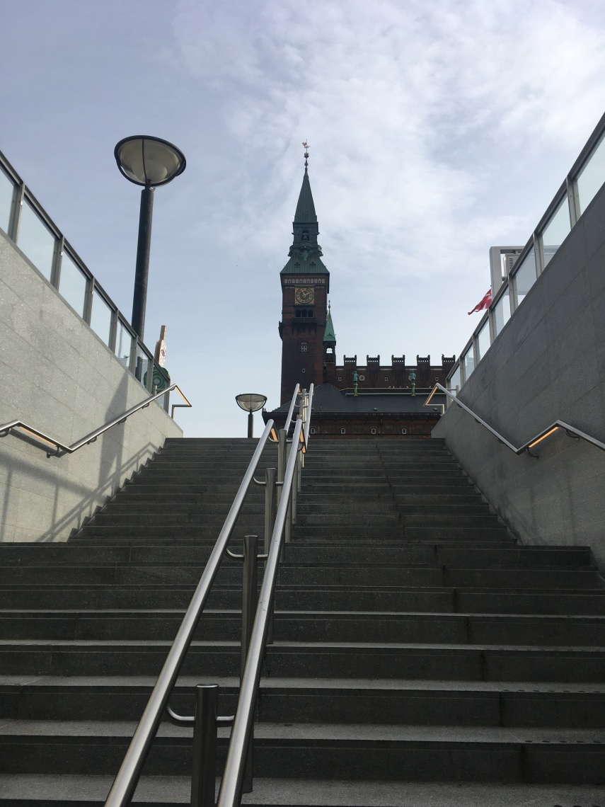 The sight of the Town Hall meets you from the Metro staircase