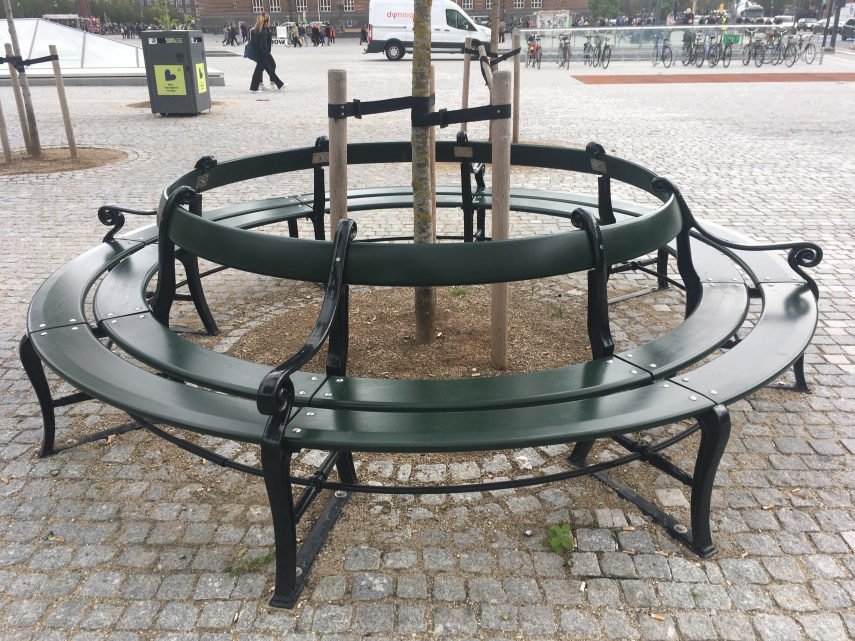 The old Copenhagen Benches put together in a circle at the Town Hall Square