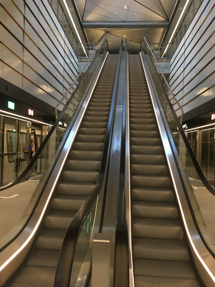The escalator at the Town Hall Square Metro station