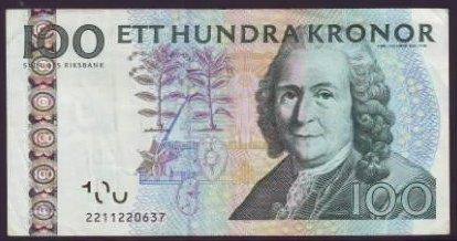 Swedish 100 kr med Linné from 1989-2016