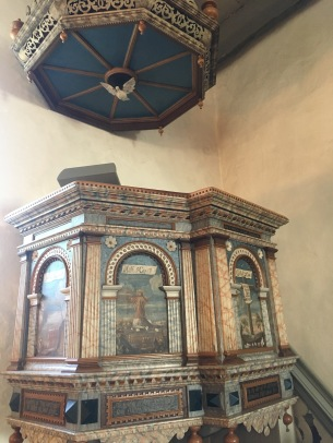 The pulpit from 1615 of Vedersoe church