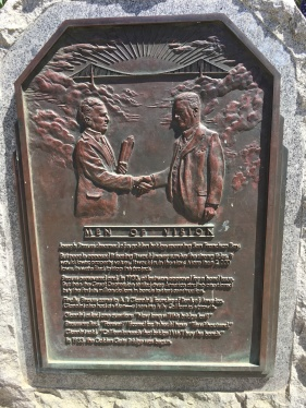 A bronze planche honouring the builders of the Golden Gate Bridge at the Golden Gate Visitor Center
