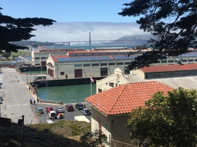 View to Fort Mason with the Golden Gate Bridge in the background along the San Francisco Bay