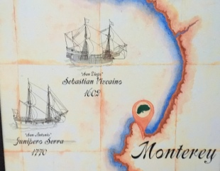 A poster at the coast on the first Spanish adventurers at Monterey
