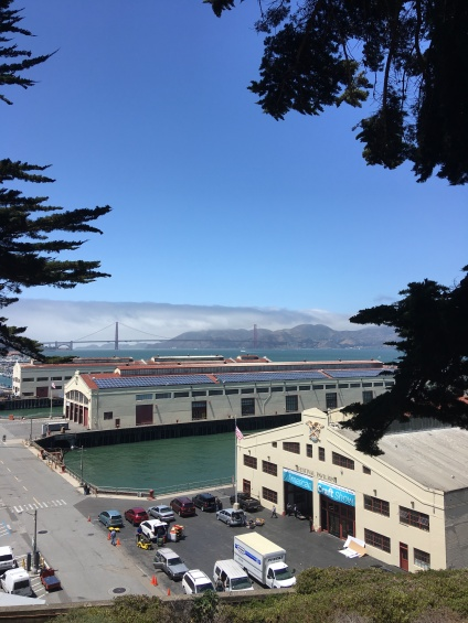 View to Fort Mason with the Golden Gate Bridge in the background