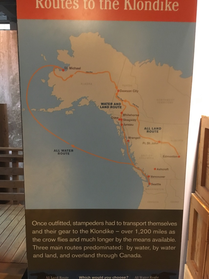 Routes to the Klondike by water, by water and land and overland through Canada