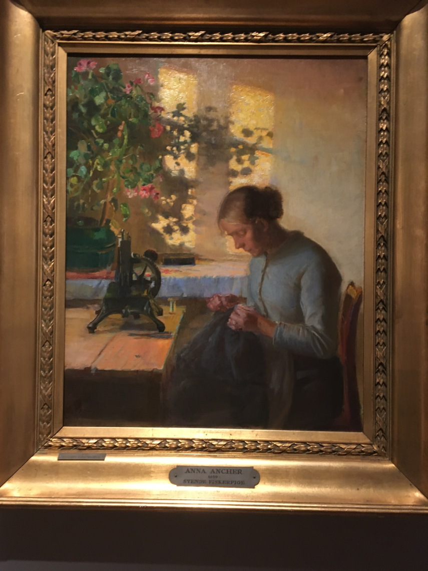 Sewing fisher maid 1899 by Anna Ancher (1859-1935)