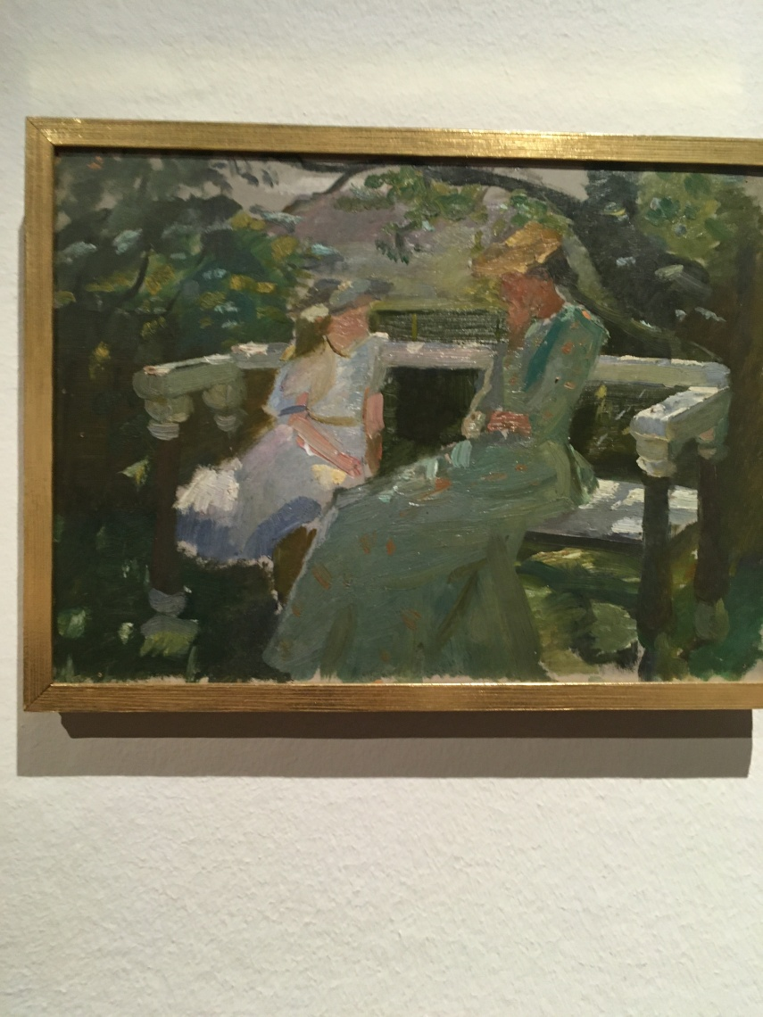 Helga Ancher and Ane Moeller on the garden bench 1892 by Anna Ancher (1859-1935)