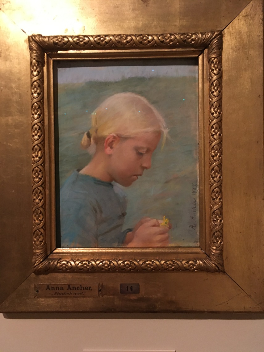 A small girl with a flower 1885 by Anna Ancher (1859-1935)