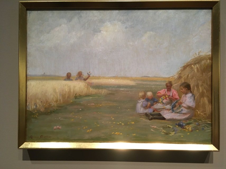 Children are making garlands in a field north of Skagen 1919 by Anna Ancher (1859-1935)