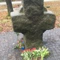The stone cross in remembrance of Kaj Munk at the place where his body wasfound