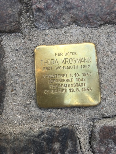Here lived Thora Krogmann born 1867- Died 1944 in Theresienstadt